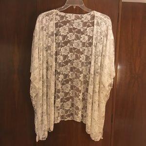 White, lacy cover-up/kimono/shawl/wrap